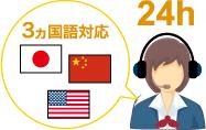 24時間、3ヵ国語対応